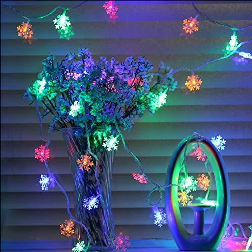 Luces de hadas de cadena led luces de Navidad, luces navideñas, luces de copo de nieve, para decoración de árboles de Navidad luces de cadena batería multicolor 3m30 leds