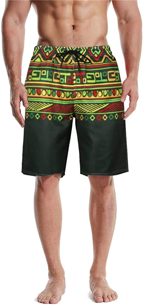 DIOMOR Retro Print Drawstring Swim Trunks with Pockets for Men Vintage Swim Trunks at The Knee Bathing Suit Board Shorts