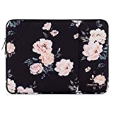 MOSISO Laptop Sleeve Compatible with 13-13.3 inch MacBook Pro, MacBook Air, Notebook Computer, Polyester Vertical Pattern Bag with Pocket, Apricot Peony