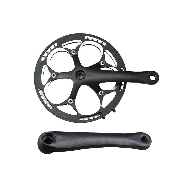 バイクチェーンリング シングルスピードクランク52T 170mmクランカー130 BCD Litepro折りたたみ自転車クランクセット、シングルスピードバイク、トラックロード自転車、固定ギア、固定具、ダホン用保護カバー付 ロードバイク、マウンテンバイク、BMX MTBバイク用