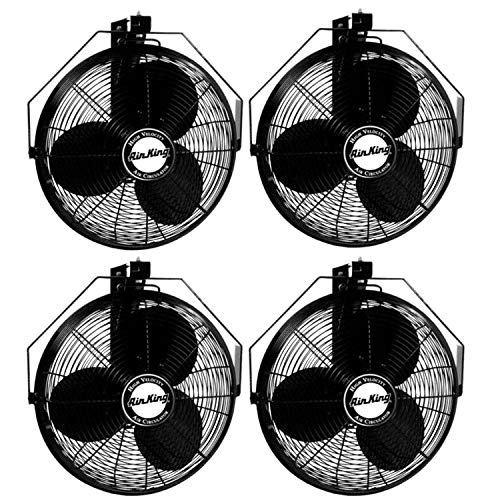 Air King 18 Inch 1/6 HP Industrial Grade 3 Blade Wall Mounted Fan (4 Pack)