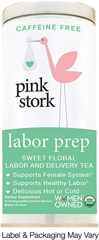 Pink Stork Labor Prep Sweet Floral Red Raspberry Pregnancy Tea 30 Cups USDA Organic Loose Leaf Herbs In Biodegradable Sachets
