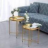 Bandeja Plegable Mesa Auxiliar, Nordic Round Small End Table Mesitas De Café Sofá Side Flower Stand para Sala De Estar, Balcón, Dormitorio