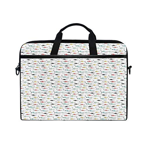 FOURFOOL 15-15.6 inch Laptop Bag,Sketch Design Underwater World Pattern with Colorful Abstract Fish Stream Ocean Print,New Canvas Print Pattern Briefcase Laptop Shoulder Messenger Handbag Case Sleeve