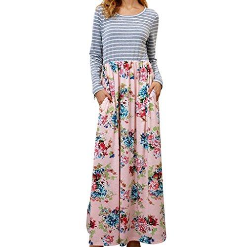 Lazzboy Herbst Damen Mode Freizeit Gestreift Geblümtes Lange Ärmel Elegant Maxikleid Cocktailkleid Abendkleid(Rosa,42(L))