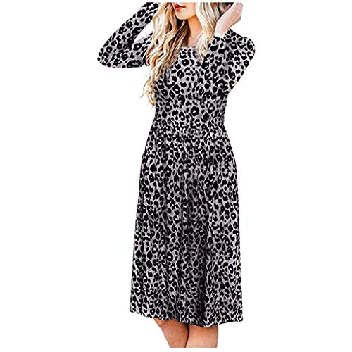 Best Prices! ZOMUSAR Fashion Women O-Neck Dress Full Sleeve Dress Leopard Print Girdle Tight Fitting...