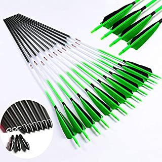 Linkboy Archery Arrows Pure Carbon ID6.2mm Spine 300 340 400 500 600 30/32inch Fluorescent Green Compound Recurve Bow Hunting 6PCS