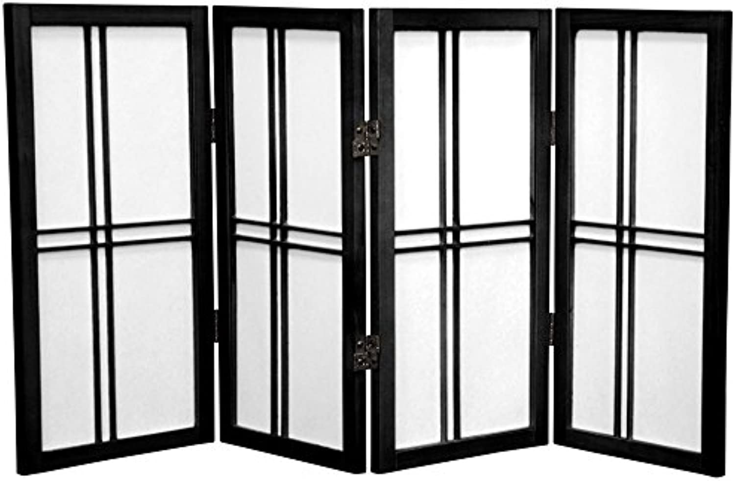 Oriental Furniture Table Top Room Dividers, 2-Feet Double Cross Japanese Style Shoji Screen, 4 Panel Black