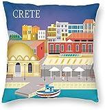 BONRI Stad Gebouw Poster Kreta Griekenland Reiskaart