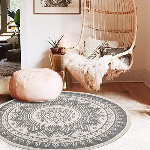 Pauwer - Alfombra redonda tejida a mano de algodón con borlas, antideslizante, lavable, para salón, dormitorio, habitación infantil, Mandala gris., Runde 120cm
