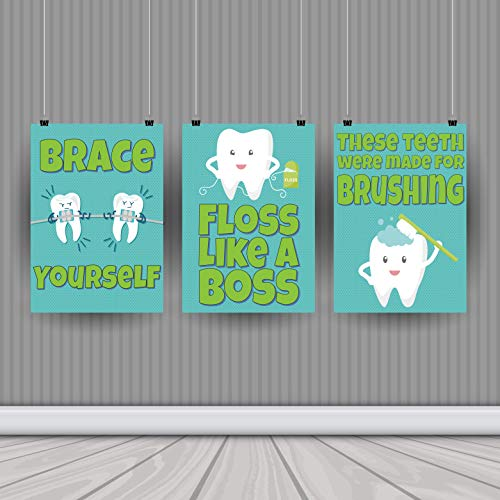 Dental Hygiene Print Collection – Set of Three 11 x 14 Posters – Bathroom Art – Classroom Decor – School – Dental – Orthodontist – Wall Art – Health Class – Dentist Office – Doctor's Office