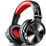OneOdio Pro10 DJ用 モニターヘッドホン 有線 マイク付き オーバーイヤー 密閉型 楽器練習 ミキシング (ブラックレッド)