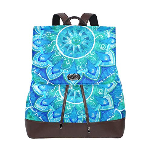 Yuanmeiju Leather Backpack Rucksack Art Flower Colorful Mandala Daypack Bags for Girls Boys