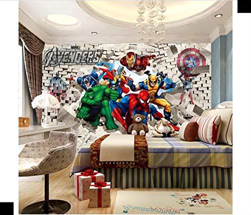 WallDiy 3d dibujos animados Avengers SpiderMan papel tapiz para niños habitación de niños papel tapiz masculino superhéroe