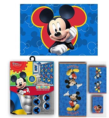 Disney und Marvel Neuen Duschvorhang und Haken und Badetuch und Memory Schaumstoff Matte-Set 17pcs Set Micky Maus