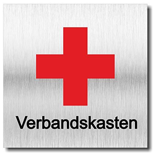 Schild Türschild Erste Hilfe Kreuz Verbandskasten UV Druck 12 x 12cm - 3mm Aluverbund - Made in Germany - Art.Nr. 2064