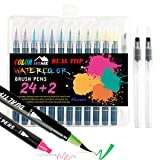 Watercolor Brush Pens,24 Colors Dual Brush Pens with Flexible Fiber Brush and Fine Marker Tips for Drawing and Coloring-Calligraphy Pens Set for Professionals and Beginner Painters