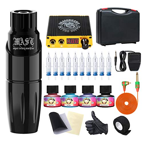 Dragonhawk Rotary Tattoo Pen Machine Kit, Mast Tour Tattoo Pen Power Supply 10Pcs Cartridges Kit with Case