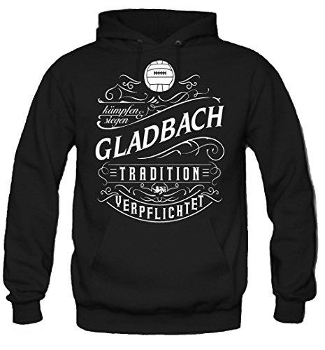 uglyshirt87 Mein Leben Gladbach Kapuzenpullover | Freizeit | Hobby | Sport | Sprüche | Fussball | Stadt | Männer | Herren | Fan | M1 Front (XL)