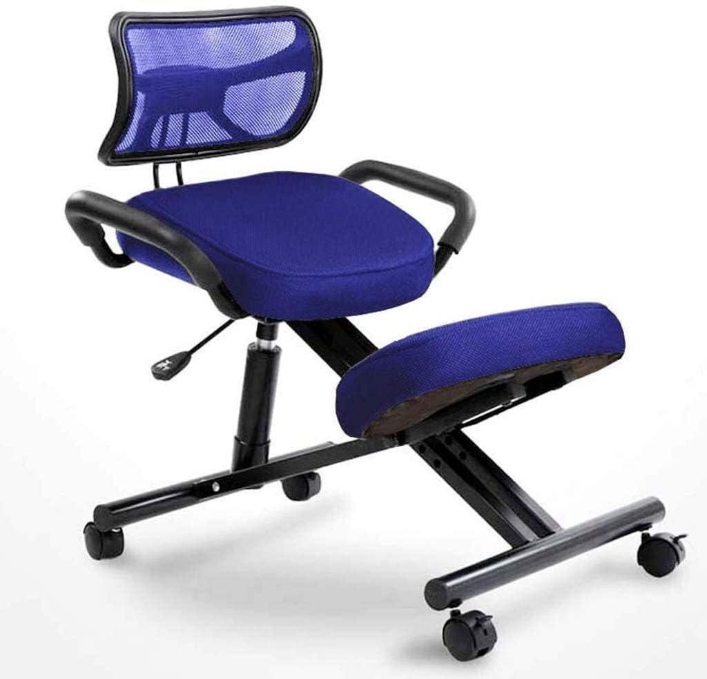 YLJYJ Chaises à Genoux Étude de Bureau à Domicile Chaise de Bureau Ergonomique Dossier Chaise réglable en Hauteur Roue surélevée Posture (Couleur: Noir) Blue