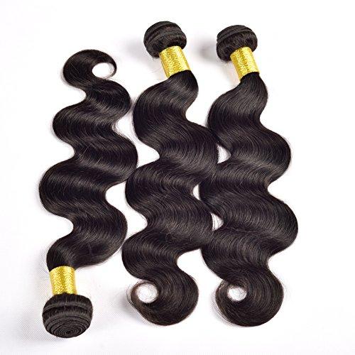 Yant Cheveux 9 A Grade brésiliens vierges Cheveux ondulés Cheveux humains tissage 3 trames Noir naturel Couleur Lot de 3