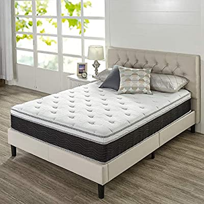 Zinus 12 Inch Euro Top Supportive Medium Firm Hybrid Mattress/Pocket Innersprings for Motion Isolation/Pressure Relieving Design/Mattress-in-a-Box, Full