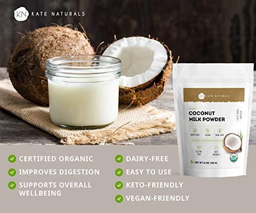 Organic Coconut Milk Powder (12 oz) for Creamer and Coffee - Kate Naturals. Dairy-Free, Gluten Free, Vegan-Friendly, Keto-Friendly, Unsweetened. 12oz