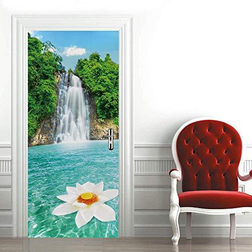 Modern Art - Adhesivo decorativo para puerta 3D, 90 x 200 cm, vinilo extraíble para puertas interiores, dormitorio, sala de estar, baño, decoración del hogar, cascada, flor