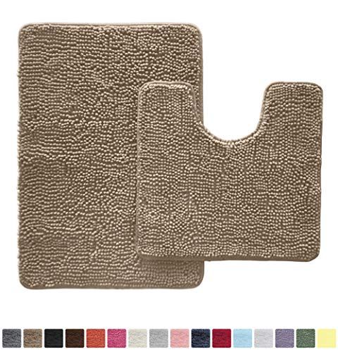 Gorilla Grip Original Shaggy Chenille 2 Piece Area Rug Set Includes Oval U-Shape Contoured Mat for Toilet and 30x20 Carpet Rugs, Machine Wash Dry, Plush Mats for Tub, Shower and Bathroom, Beige