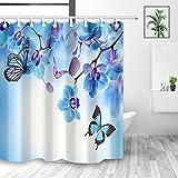 Aliyz Frühling Blumen Blumen Wallpaper Duschvorhang Natur Schmetterling fliegen auf Garten Orchidee Blume Duschvorhänge Polyester Stoff wasserdicht Bad Vorhang mit Haken 71X71in blau