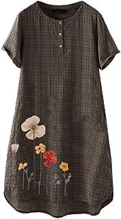 Women Flower Printed Dress Top, Ladies O-neck Short Sleeve Button Loose Casual Mini Dress