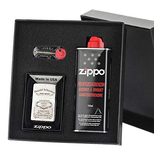 polar-effekt Zippo-Store Zippo Sturmfeuerzeug Geschenk-Set - 1 Flasche Benzin (125ml) - 6 Feuersteine - mit Gravur - inkl. Geschenketui - Wind- und Wetterfest Motiv Legend
