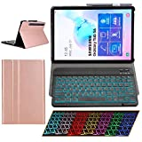 Samsung Galaxy Tab S6 2019 Case with Keyboard Backlights Ultra Thin PU Leather Slim Folio Stand Cover Removable Wireless Bluetooth Backlit Keyboard Case for Galaxy Tab 10.5' T860 T865 T867 (Rosegold)