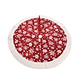 BESTOYARD Christmas Tree Skirt Snowflakes Pattern Holiday Tree Apron Xmas Tree Mat Cover