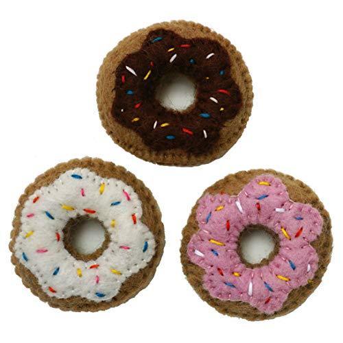 Mokoboho Set of 3 Mini Donut Toys for Cats and Kittens 100% Wool Felt Handmade in Nepal