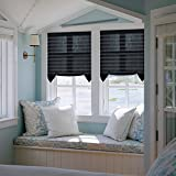 Easy to install Trim-at-Home Light Filtering Pleated Fabric Shades Blinds Black For Windows 36'x72' 3-pack