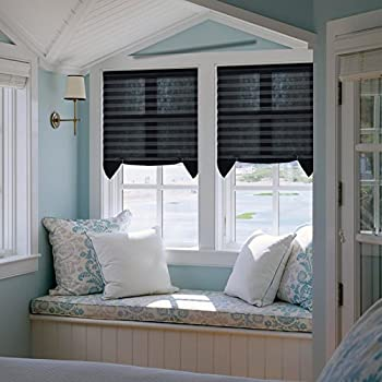 Easy to install Trim-at-Home Light Filtering Pleated Fabric Shades Blinds Black For Windows 36 x72  3-pack