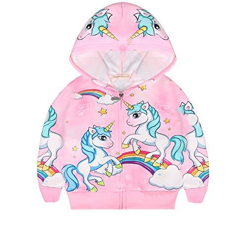 LQSZ Sudaderas Capucha Niñas Impresión Unicornio