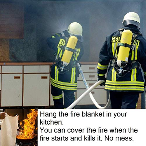Fire Blanket For Home XL - 47 x 47 Fire Blankets Emergency For People Fire Retardant Blanket Fire Shelter Large Suppression Fiberglass Kitchen Home Restaurant House Fire Proof Survival Safety Reusable