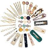 VEGCOO 30 Piezas Clips de Pelo, Pinzas Pelo de Diamantes de Imitación, Horquilla de Metal, Accesorios de Pelo para Mujer Chica y Niña (A)