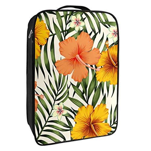 Schuh-Aufbewahrungsbox, für Reisen und den täglichen Gebrauch, mit Palmblättern, tragbar, wasserdicht, bis zu 12 m, mit doppeltem Reißverschluss und 4 Taschen