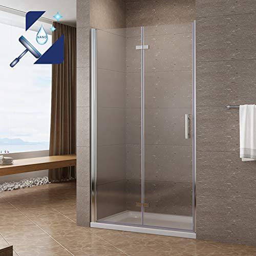 AQUABATOS® Duschtür Falttür 90 x 195 cm Duschabtrennung Falttür Nischentür Pendeltür Dusche Duschtrennwand Faltbar Drehfalttür Nische aus 6 mm Echtglas ESG mit Lotus Effekt Nano Beschichtung