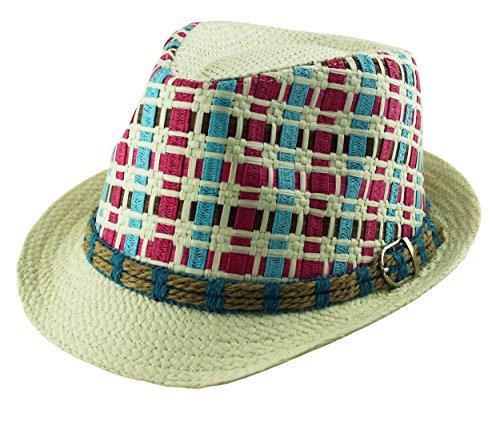 Itzu Unisexe papier Paille Trilby Panama Fedora Cross Weave Boucle Band Chapeau d'été - Ecru - Large