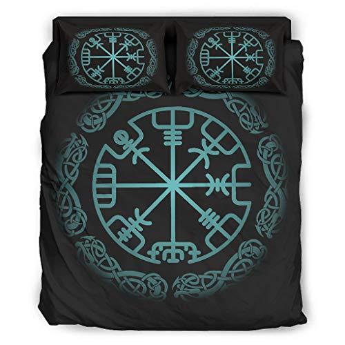 Tentenentent Juego de ropa de cama Viking de 4 piezas, funda de almohada y funda de edredón, suave y cómoda, color blanco 5, 240 x 264 cm