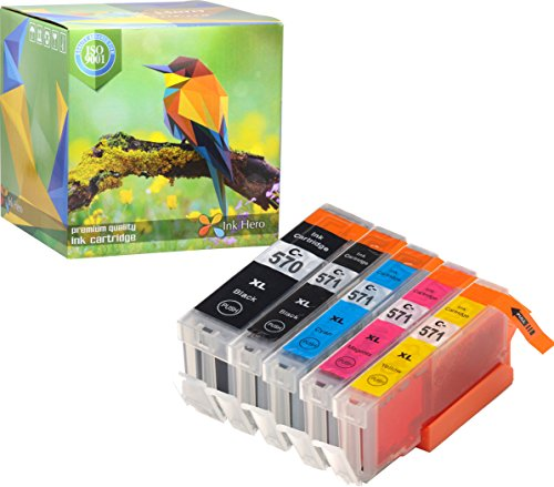 Ink Hero – Cartucho de tinta refabricado para usar en lugar de Canon 571XL, 570XL (Pigmento negro, Negro, Cian, Magenta, Amarillo, pack de 5)