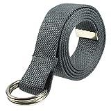 Gelante Canvas Web D Ring Belt Silver Buckle Military Style for men women-2052-DarkGray (L/XL)