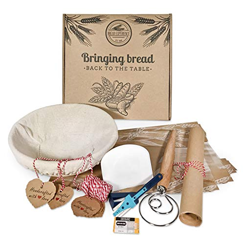 Artisan Home Bread Making Kit - 9 Inch Round Banneton Bread Proofing Basket Cloth Liner, Lame Bread Tool+10 Blades, Bowl Scraper Dough Whisk Bread Bags Kraft Tags, R/W Bakers Twine Gift Box eBook