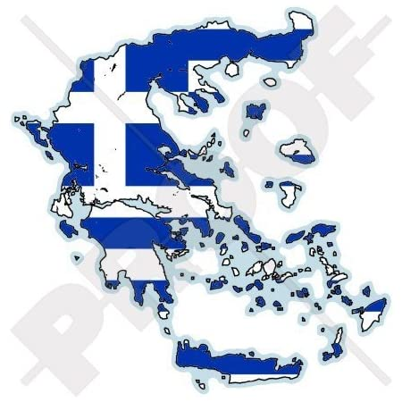 Griechenland Griechische Karten Flagge Hellas Hellenisch 100mm Auto Motorrad Aufkleber Vinyl Stickers Garten