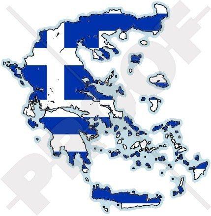 GRIECHENLAND Griechische Karten-Flagge Hellas Hellenisch 100mm Auto & Motorrad Aufkleber, Vinyl Stickers