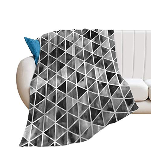 Donghouse Blanket Black and White Watercolor Geometric Flannel Blanket Comfort Velvet Touch Ultra Plush, Novelty Soft Throw Blankets fit Couch Sofa Bedspread Coverlet Bed Cover 40' X 50'